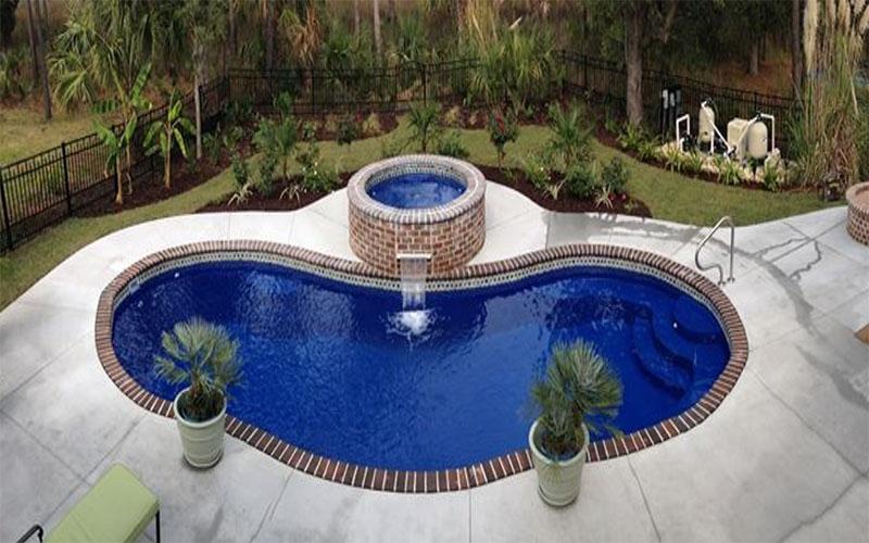 Alaglas Pools Antigua fiberglass swimming pool in sapphire