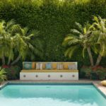 Poolside Privacy Hedge, Bench and Trees