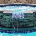 Alaglas Pools Fiberglass Aruba Spa in white with spillover