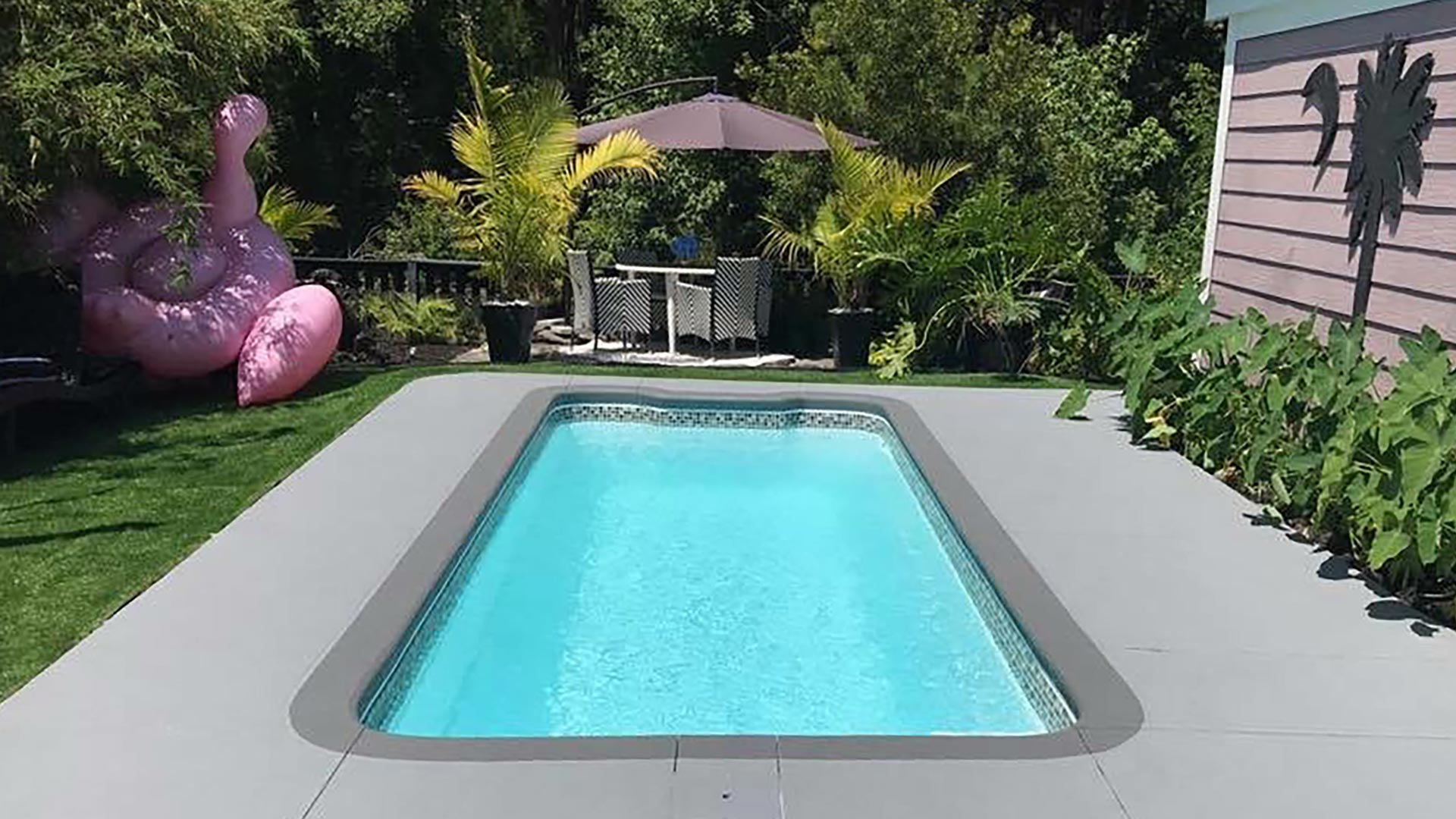 Alaglas Pools' Citation III model, a small, rectangular patio pool in white